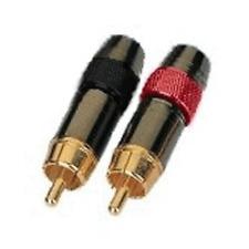 2 Fiches RCA Mâles DORES Repérées 2 Couleurs POUR CABLE 8MM Connections à souder