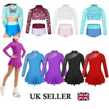 UK Girls Ballet Dance Dress Gymnastics Ice Skating Long Sleeve Outfits Dancewear