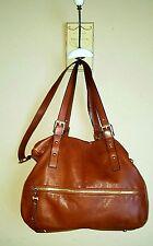 B. Makowsky Brown Leather Extra Large Satchel Shoulderbag Handbag Purse EUC