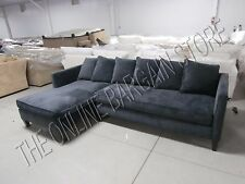 Charming Pottery Barn West Elm Dunham Toss Back Sectional Sofa Chaise Velvet Shadow  2 PC