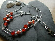 """Orange Papillon"" fait main perles de verre ID Lanyard badge porte-collier"