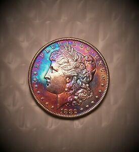1882-cc Morgan Silver Dollar  Vivid Rainbow Toned  ** SIMPLY STUNNING COIN