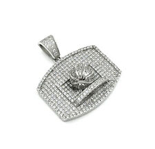 .925 Sterling Silver Antiqued Football Rectangle Charm Pendant