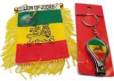 Lion of Judah Mini Banner Rearview Flag w/Bottle Opener Nail Clipper Key Chain