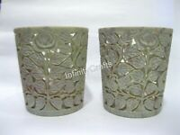 6 Inch Marble Decorative Vase Hand Carved Planter use for Home  Set of 2 Pieces