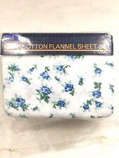 VINTAGE  3 PIECE TWIN SHEET SET Pillow Case Flannel Cotton Floral Cottage Chic