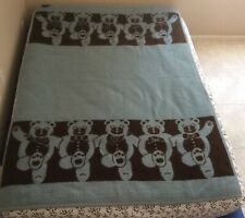 Vtg Ibena Dolan Greece Dancing Teddy Bear Blanket Reversible Blue Brown 72x52