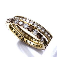 Lot of 2 QVC Diamonique SW 14K DQ CZ YELLOW Gold ETERNITY BAND RINGS Size 10