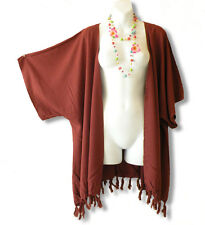 Brown Solid Plus Size Cardigan Duster Jacket Kimono Cover up - 2X, 3X, 4X & 5X
