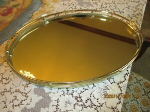 VINTAGE BRASS MIRRORED VANITY TRAY with FELT COVERED BOTTOM