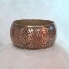 Chunky Brass Bangle Bracelet Vintage Boho Inspired Enameled Design