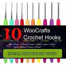 10 Small Size Steel Crochet Hook Set Thread Crochet Lace Hooks Ergonomic Handle!