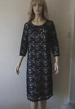 Primark Long Sleeve Lacey Dress Navy Size 18