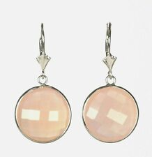 Pink Chalcedony Dangling Earring in 14k White Gold
