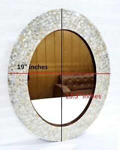 Wall Mirror Bedroom Mother of Pearl Inlay Oval Frame Decorative Wall Hanging