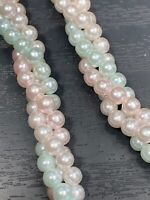 Vintage Pastel Round woven Twisted 3 Strand imitation pearl beaded Necklace
