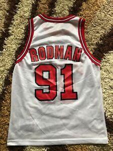 CHAMPION NBA Trikot CHICAGO BULLS 91 RODMAN Shirt Jersey Basketball adult 40 USA