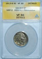 1913 S T2 PCGS ANACS VF30 Details Type 2  Buffalo Nickel