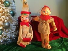2 Vintage 1960's Japan Christmas Pixie Elf Knee Hugger Shelf Sitters Burlap