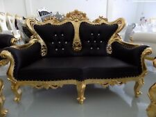Antique Style Loveseat. Black and Gold Baroque Luxury. Italian French Provincial