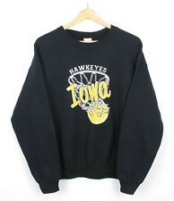 Hawkeyes Iowa Mens Vintage Graphic Black Crew Neck Spell Out Sweatshirt - M