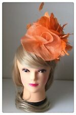 Classic Sinamay Fascinators Vintage Orange Feather Flower Races Wedding Party