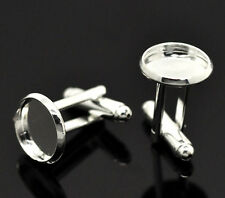 25 Pairs Silver Plated Cabochon Setting Cuff Links 26x14mm(Fit 12mm)