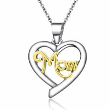 925 Silver Plt Mom Engraved Necklace Love Heart Gold Mum Family Gift B