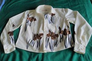 Marni. Ivory White + Grey/Brown Flowers Short Cotton Long Sleeve Top. 40. UK 12?