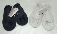 (2) Totes TERRY BALLET Slippers - UK 5/6 - 1 Navy/1 Grey - Machine Washable