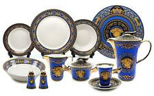Royalty Porcelain Vintage 49-pc Dinnerware Set 'Blue Medusa', Premium Bone China