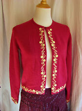 PRETTY CHERRY RED LAMBSWOOL/ANGORA CARDIGAN EMBROIDERED ANN TAYLOR S