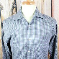 Peter Millar Men's Medium Long Sleeve Button Down Shirt Blue Green Gray Gingham