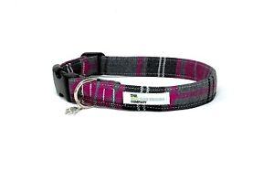 Pink and Grey Tartan Adjustable Dog Collar