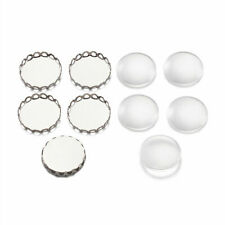 10Set Brass Cabochon Pendant Blank Portrait Setting Flat Round Clear Glass Beads