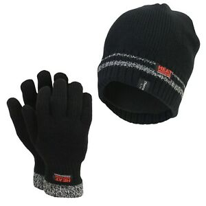 Mens Soft Thermal Heat Machine Double Insulated Beanie Hat & Gloves Set BLACK