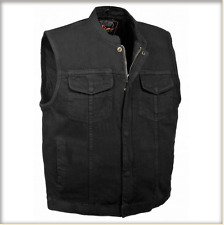 Men's Concealed Snap Denim Club Vest w/ Hidden Zipper mdm3000