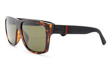 GUCCI Square Men Sunglasses GG 1124/F/S Tortoise Havana Brown Green Lenses M1W1E