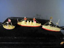 Three Antique Toy Ships Wood And Composition Early 1900s
