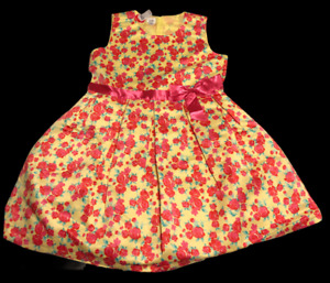 Party Dress Big Girls Size:XXL Yellow with Pink Flowers New Special Edition