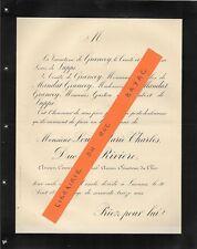 FAIRE PART DECES + Louis Marie Charles duc de RIVIERE + 1890, de Grancey, Luppé