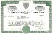 National Life and Insurance Co > 1966 Nashville, Tennessee old stock certificate
