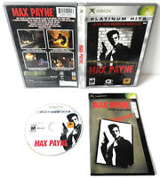 MAX PAYNE ORIGINAL XBOX VIDEO GAME DISC CASE MANUAL CIB COMPLETE PLATINUM TESTED