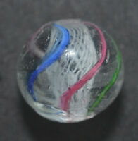 "Antique German Handmade 4 Color Latticinio Core Swirl Marble 43/64""  Mar329"