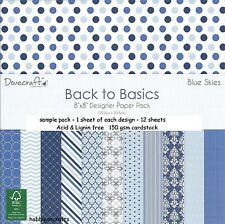 DOVECRAFT BACK TO BASICS BLUE SKIES PAPERS - NEW - 8 X 8 SAMPLE PACK - 12 SHEETS