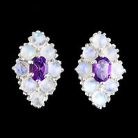 100% NATURAL 7X5MM AFRICAN AMETHYST & FIRE BLUE MOONSTONE SILVER 925 EARRING