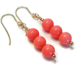Pink Coral Earrings with 9ct Gold Hooks, Dangle Drop Gemstone Jewellery, Womens