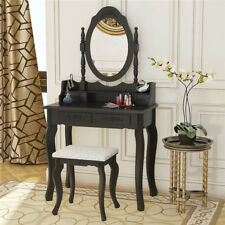 Black Dressing Tables Makeup Desk 4 Drawers with Stool +1 Oval Mirror Bedroom UK