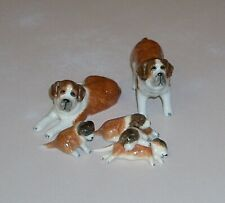 6 Miniature Saint Bernard Dog Family Figurines Mama Papa & Piled Puppies Ceramic