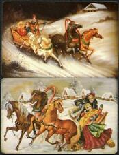 VINTAGE SWAP CARD PAIR PEOPLE ON THE HORSE CARRIAGE IN THE SNOW (NEW)
